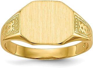 480c79ebb8a866 Diamond2deal Solido 14 K giallo oro sigillo da uomo con anello 6