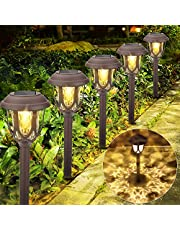 Vivibel [6 sztuk] Lampy solarne do ogrodu, solarne lampy ogrodowe, lampa zewnętrzna, wodoszczelne światło solarne LED, ciepła biel, dekoracja, lampa solarna do oświetlenia zewnętrznego, oświetlenie ścieżek, willi, trawników