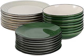 ProCook Coastal - Service de Table en Grès - 24 Pièces/8 Personnes - Grande Assiette Plate/Assiette à Dessert/Assiette Cre...