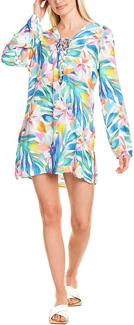La Blanca Women's Lace Front Cover Up Tunic Dress
