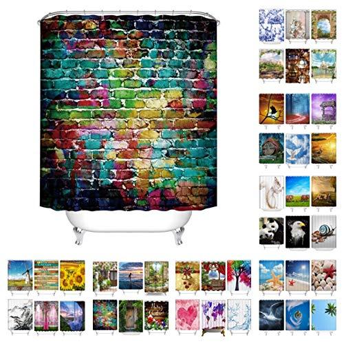 FANYIZHIJIA 3D-Gedruckter Badezimmer-Duschvorhang , Graffiti Urban Brick Art Wall Extra Langer Duschvorhang Badezimmer-Vorhang Wasserdicht für Badewanne Dekor 180 * 180 cm