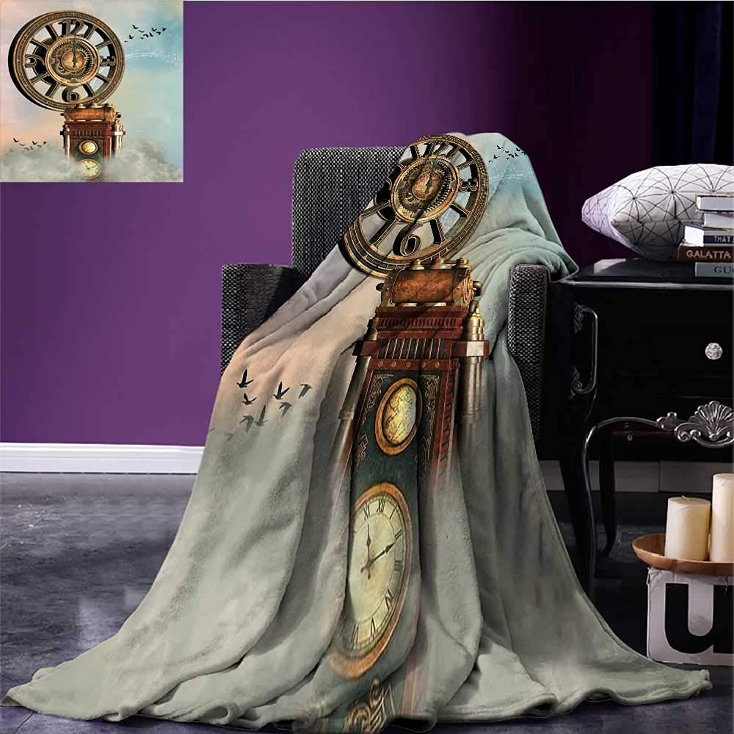 Fantasy Lightweight Blanket Magical Enchanted Landscape Big Antique Clock Flying Birds Fairytale Degrees of Comfort Weighted Blanket Pale bluee Brown Pink Bed or Couch 60 x50