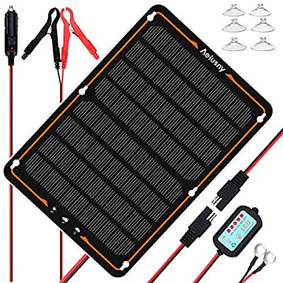 Aeiusny 10W 12V Solar Panel Car Battery Charger,Portable Solar Panel Trickle Charging Kit for Automotive RV Marine Boat Motorcycle Truck Trailer Tractor Powersports Snowmobile Farm Equipment