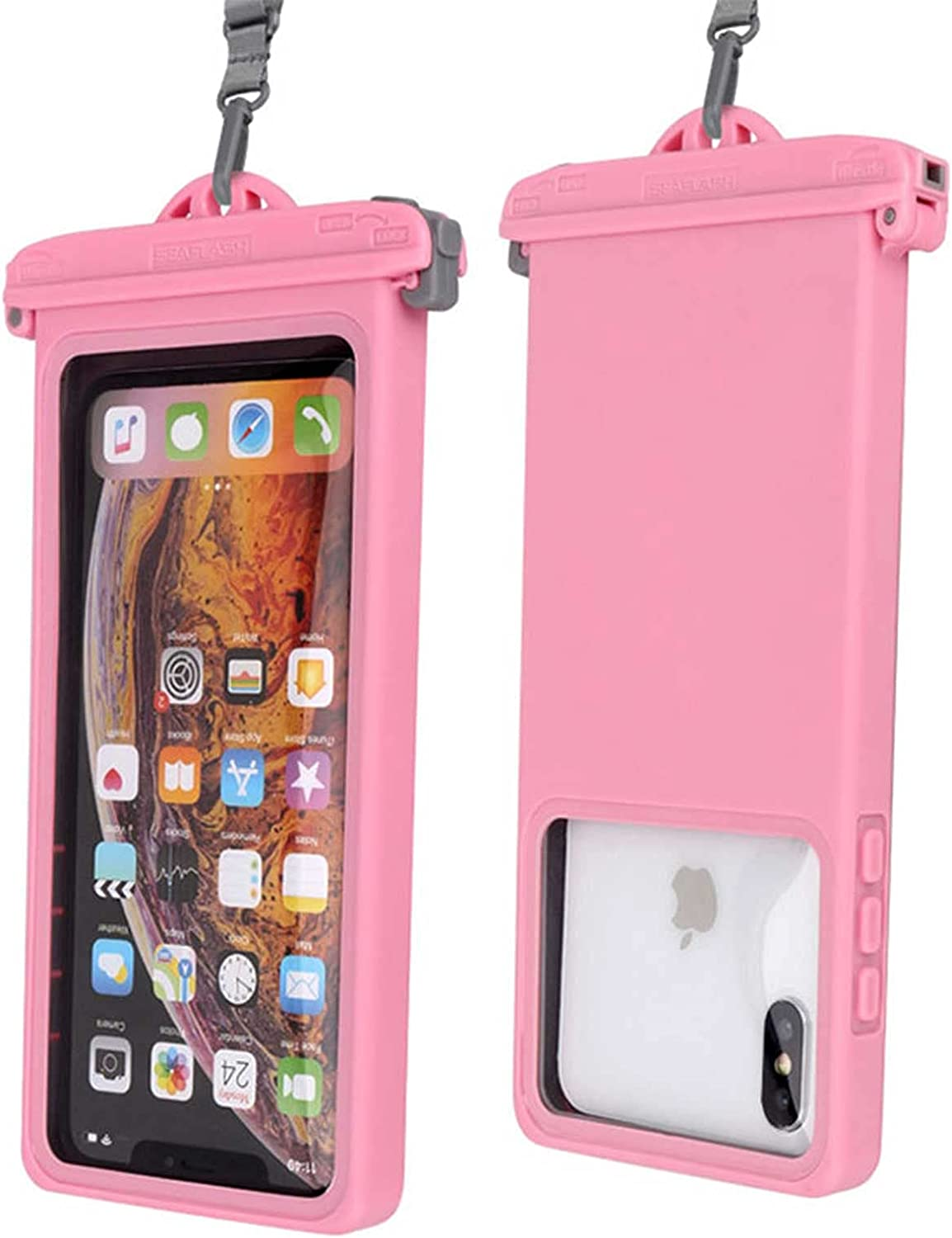 YQK Universal Waterproof Phone Pouch Underwater Case Clear Cellphone Dry Bag with Lanyard Outdoor Beach Swimming Snorkeling Bag for Smartphone up to 6.9 Inch (Pink)