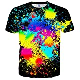 Neemanndy Unisex Colorful Shirts 3D Graphic Paint Splatter Black Summer Tee for Adults, Small