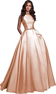 Women's A-Line Sleeveless Beaded Satin Long Prom Dress Open Back Formal Evening Gown with Pockets 2019