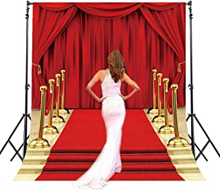Riyidecor Red Carpet Backdrop Luxurious Stage Photography Background Glitter Gold and Red 5Wx7H Feet Decoration Celebration Props Party Photo Shoot Backdrop Blush Vinyl Cloth