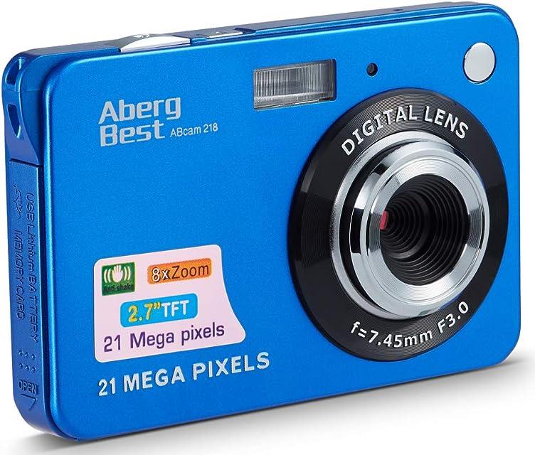 Compactas Cámaras Digitales AbergBest 2.7 LCD Recargable HD Cámara Digital para Estudiantes niños Adultos Interior y Exterior (Azul)
