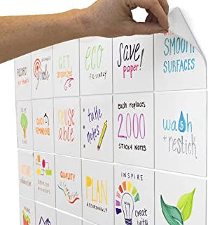 mcSquares 5x5 Dry-Erase Sticky Notes | 24-Pack Reusable White Board Stickers with Free Tackie Marker