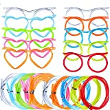Crazy Glasses Straws 10 sets, Silly Fun Heart...
