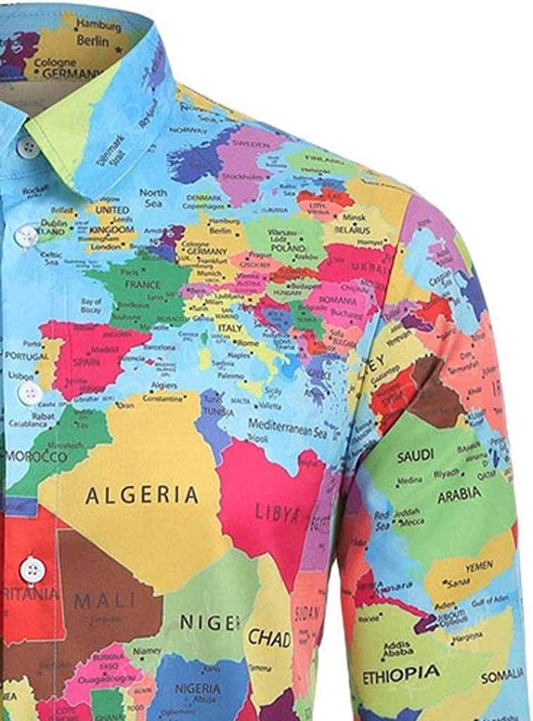 Vicbovo Clearance Men Casual Shirts World Map 3D Print Graphics Long Sleeve Tops Blouse Fashion Button Down Shirt Dress