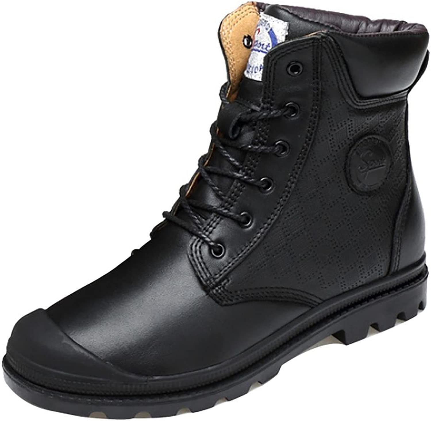 NANXZ Men 's Autumn And Winter Leather Lace Anti-collision High Top Manual Martin Boots Outdoor Leisure