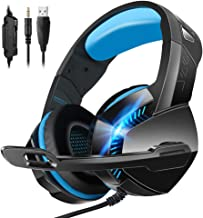Stereo 7.1 Surround Sound 3.55mm Gaming Headset,for PS4 Xbox One PC Controller Nintendo Switch Games,PHOINIKAS H3 Noise Cancelling Headphones,Over Ear Headphones with Mic LED Light (Blue)
