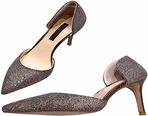 HBDLH Chaussures pour Femmes des Sequins Métalliques Creux Estival Peu Sexy Cheveux Pointus 9Cm des Chaussures à Talons Haut Unique.