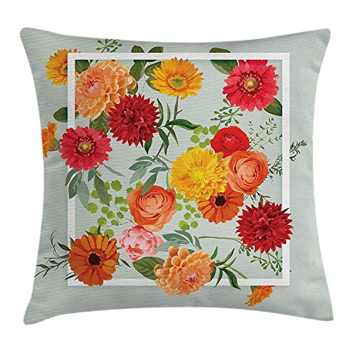 JIMSTRES Shabby Chic Decor Throw Pillow Cushion Cover, Floral Flowers Leaves Buds Frame Art Print, Decorative Square Accent Pillow Case, Pale Green Dark Coral Mustard Peach Red 20x20 inches