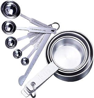 Lawei - Juego de 11 tazas y cucharas medidoras con regla de medición de acero inoxidable para hornear ingredientes líquidos secos