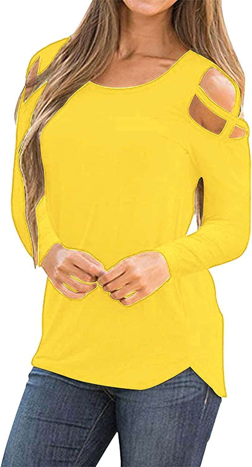 Cold Shoulder Long Sleeve Shirts for Women Summer Fall Casual Solid Tee Round Neck Cut Out Strappy Tunic Blouse Tops