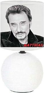 PRESENT Lampe de chevet Johnny Hallyday création artisanale, Personnalisé avec le prénom.(produit Français)