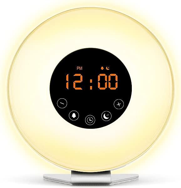 唤醒灯日出数字闹钟 2017 升级 6 自然声音和调频收音机日出和日落模拟 7 自动开关颜色 LED 床边成人和儿童夜灯