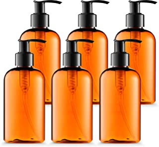 BAR5F Empty Lotion Bottles 8 Oz. with Black Pump Dispenser, Light-Amber Color, Great for - Creams, Body Wash, Hand Soap, Self-Tanners, Bronzers and Massage Lotion (Pack of 6)