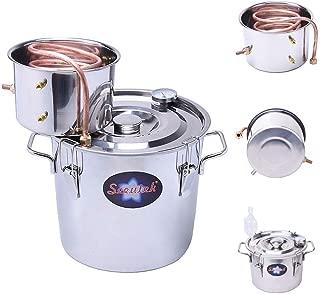Seeutek 3 Gallon 12L Copper Tube Moonshine Still Spirits Water Alcohol Distiller Home Brew Wine Making Kit Oil Boiler, 3Gal, Silver