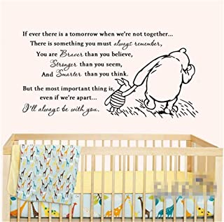 Aield Motivational Saying Lettering Art Vinyl Classic Winnie The Pooh If Ever There is A Tomorrow Baby Quote Wall Decal for Nursery Kid Bedroom Wall Stickers