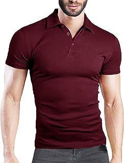 MODCHOK Men's Polo Shirt Short Sleeve Collar T Shirts Cotton Tee Button Casual Slim Fit Tops