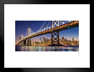 Poster Foundry San Francisco Skyline with Oakland Bay Bridge Twilight Panoramic Photo Art Print Matted Framed Wall Art 20x26 inch