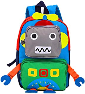 تيمان أطفال طفل ما قبل المدرسة حقيبة سفر روضة أطفال لطيف الكرتون روبوت حقيبة مدرسية حقيبة الظهر للبنات والأولاد الطفل