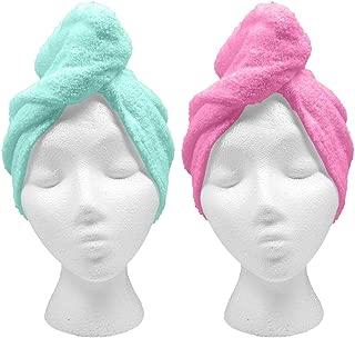 Turbie Twist XL Hair Towels (2 Pack) Extra Large Pink, Aqua