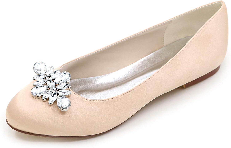 LLBubble Women Comfort Flat Satin Wedding Bridal shoes Low Cut Closed Toe Crystals Ballet shoes 9872-12