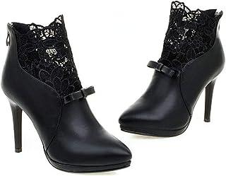 c3da3ebbc49f3a Fanessy Femme Escarpins Noir Blanc au Cheville en Dentelle Grande Taille  avec Noeud Boots Aiguille Talon