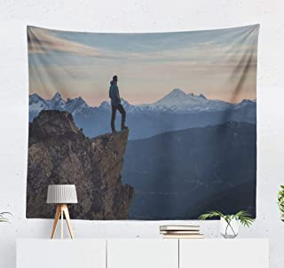 Kutita Tapestry Wall Hanging Man Standing Mountain and Beautiful Vibrant Sunset Vancouver Wall Tapestry Home Decorations for Bedroom Living Room Dorm Decor in 60