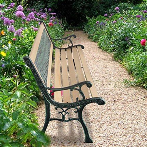 tidyard Banco de Jardín con Diseño Nostálgico,Respaldo con Decorativo de PVC,Apto para Uso en el Exterior Durante Todo el Año,122x51x73cm