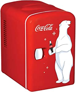 Coca-Cola KWC-4 4 Liter/6 Can Portable Fridge/Mini Cooler for Food, Beverages, Skincare-Use at Home, Office, Dorm, Car, Boat-AC, DC Plugs Included, red
