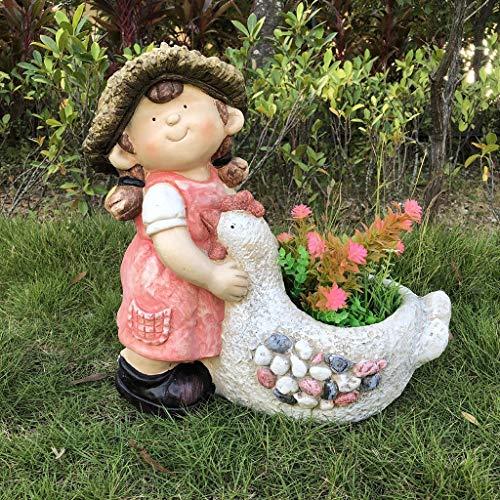 YONGMEI Estatuas de jardín de Resina Adorno de jardín de Resina al Aire Libre, Impermeable niña niño jardín Estatua de jardín para Jardines Patios Villas Flores Casas decoración (Color : Girl)