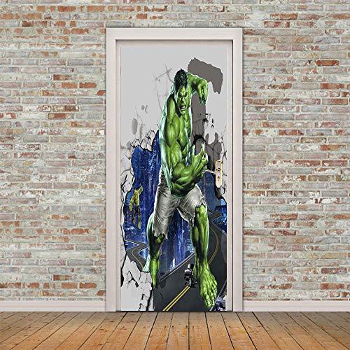 DRBTMT Türaufkleber selbstklebend Türposter - 3D Held Hulk 90x200cm - Fototapete Türfolie Poster Tapete Abnehmbar PE Schälen und Stock Wandtapete zum Wohnzimmer Küche Schlafzimmer Wandaufkleber