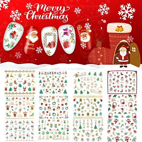 Christmas Nail Stickers, 3D Metal Design Self-Adhesive Nail Decals Snowflakes Snowmen Santa Xmas Tree Nail Art Stickers Tips Stencil DIY Decoration(12 Sheets)