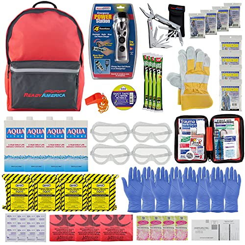 Ready America 70385 72 Hour Deluxe Emergency Kit, 4-Person 3-Day Backpack, First Aid Kit, Survival...
