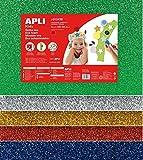 APLI Pochette 5 feuilles de mousse caoutchouc - Argent, or, rouge, bleu et vert a paillettes - Grand Format