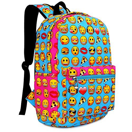 Zicac Zaino bambini Emoji zaino tela di canapa Zaino scuola (Blu (31x17x40cm))