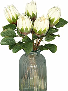 Calcifer 5 Pcs The King Protea (Protea Cynaroides) Artificial Flowers Plants for Home Garden Wedding Party Decoration (White)