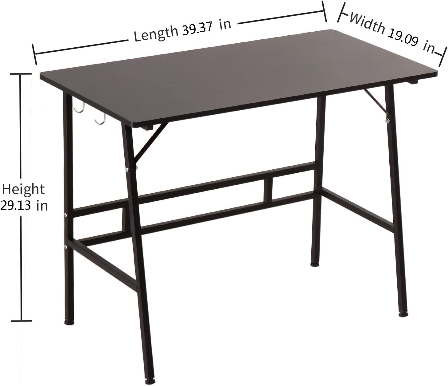 Black NOVII Office Computer Desk Modern Simple Study Desk with Wooden Table top and Sturdy Metal Frame Multifunctional Writing Desk Suitable for Office Living Room Study Bedroom