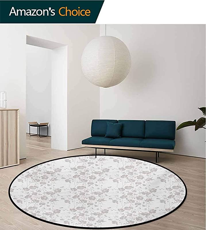 RUGSMAT Grey Non Slip Area Rug Pad Round Natural Beauty Flower Hand Drawn Peonies Bouquet Florets Romantic Feminine Home Design Protect Floors While Securing Rug Making Vacuuming Diameter 35 Inch
