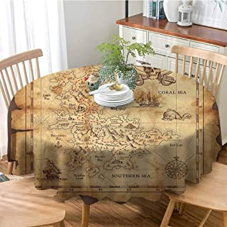 ONECUTE Stain Resistant Tablecloth,Stain Resistant Fabric,Island Map Super Detailed Treasure Map Grungy Rustic Pirates Gold Secret Sea History Theme Beige Brown 70