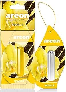 AREON Liquid Auto Lufterfrischer Vanille Duft Autoduft Duftflakon Parfüm Flakon Aufhängen Hängend Anhänger Spiegel Gelb 5ml 3D (Vanilla Pack x 1)