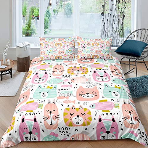 Tbrand Nursery Bedding Set Kid Cartoon Duvet Cover King Size Cute Cat Comforter Cover Fish Pet Animal Bedspread Cover For Kids Toddler Baby Living Room Decorative, Pink Green