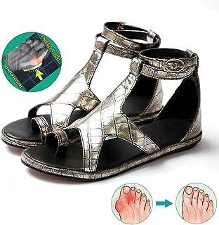 HOAPL Mujeres Pentagram Metal Color Sandalias PU Large Size 34-43 Zapatos, Juanete Corrector Dedo Gordo Separado Zapatillas Sandalias Clip Toe,Oro,42