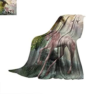 Hummingbirds Throw Blanket Unicorn Gold Color Leaves Birds Twinkling Stars Moon Mystic Fantasy Fairytale Warm Microfiber All Season Blanket for Bed or Couch 50