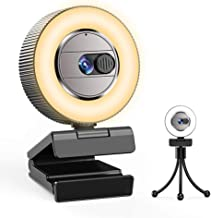 2021 CASECUBE 2K Ultra HD Webcam with Microphone and Ring Light, Webcam Cover, 2 Colors and 3-Level Brightness, Plug and P...